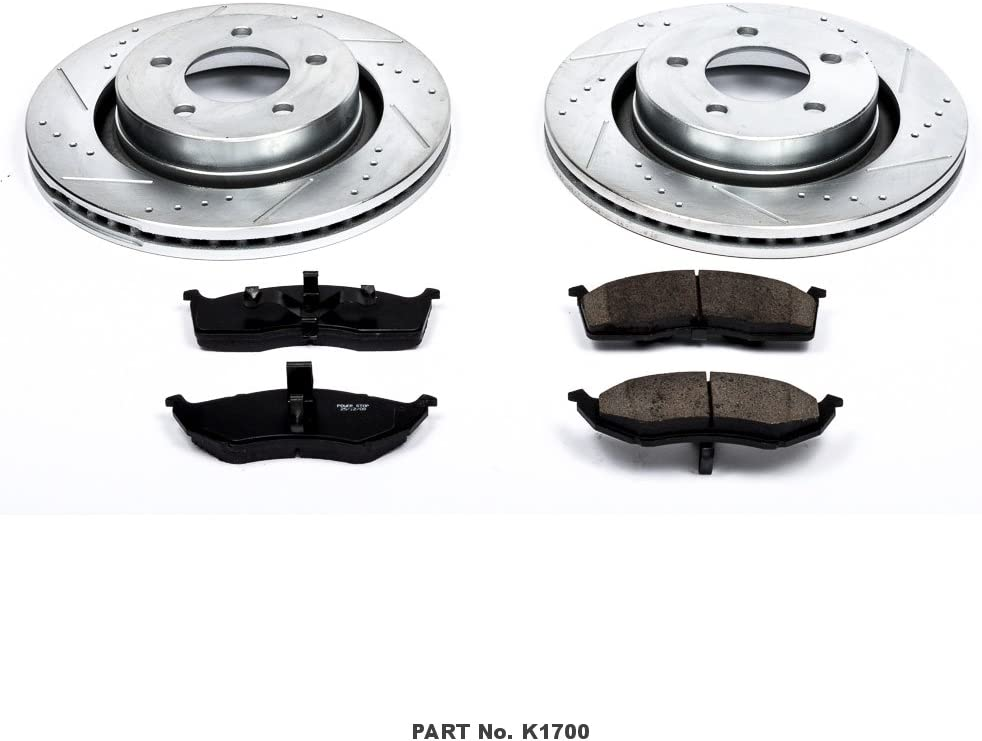 Power Stop K1700 Front Brake Kit with Drilled//Slotted Brake Rotors and Z23 Evolution Ceramic Brake Pads,Silver Zinc Plated
