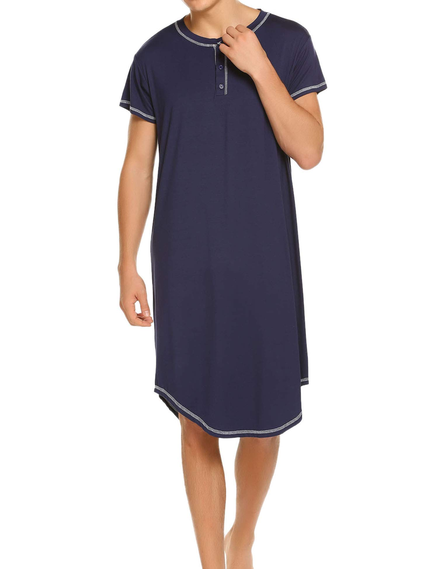 Ekouaer Men's Nightshirt, Cotton Nightwear Comfy Big&Tall V Neck Long Sleeve Soft Loose Pajama Sleep Shirt, Navy Blue, X Large