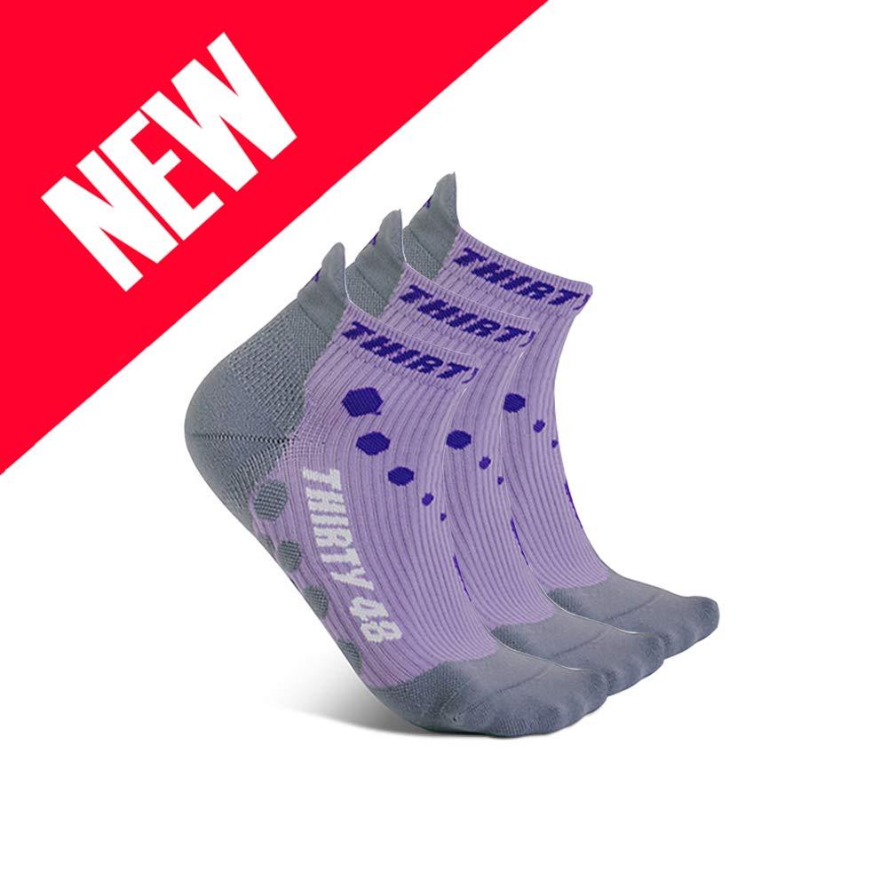 Thirty 48 Compression Low-Cut Running Socks for Men and Women (Medium - Women 7-8.5 // Men 8-9.5, [3 Pairs] Purple/Gray)