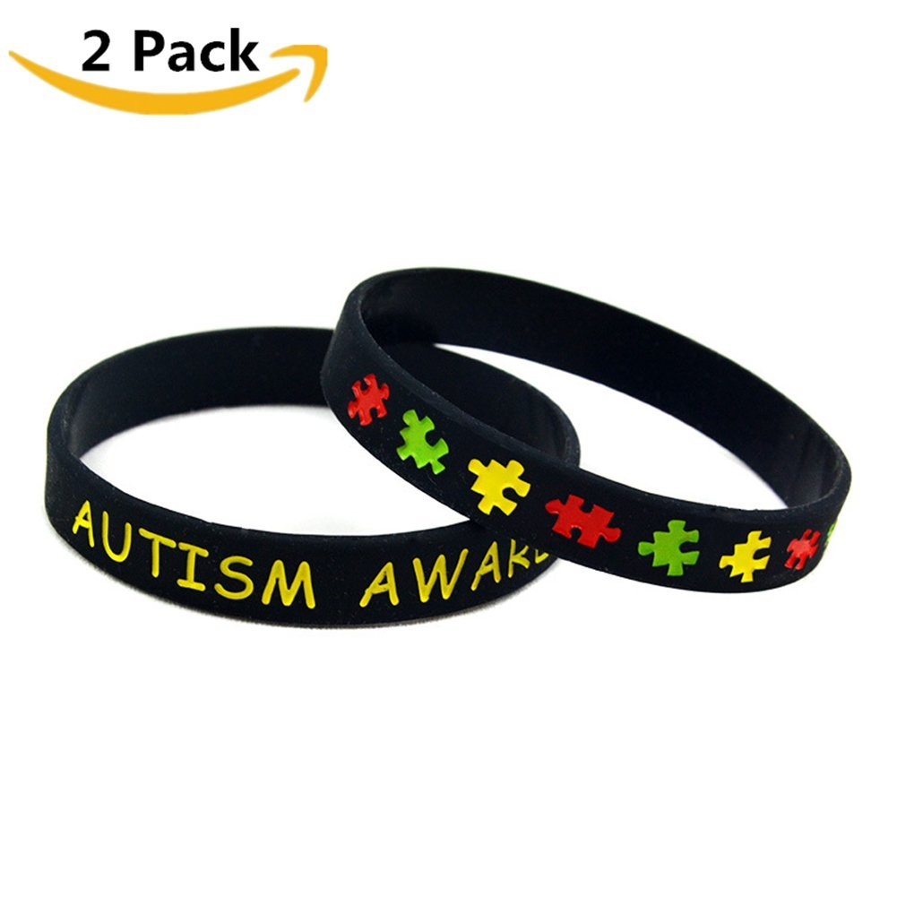 Comfybuy 2 5 Pack Inspirational Autism Awareness Puzzle Jigsaw Bracelet Band for Adults Men Women SOS Emergency Medical Alert Silicone Wristband Bangle 20cm Comfybuy Jewelry ADE-2017070905-B