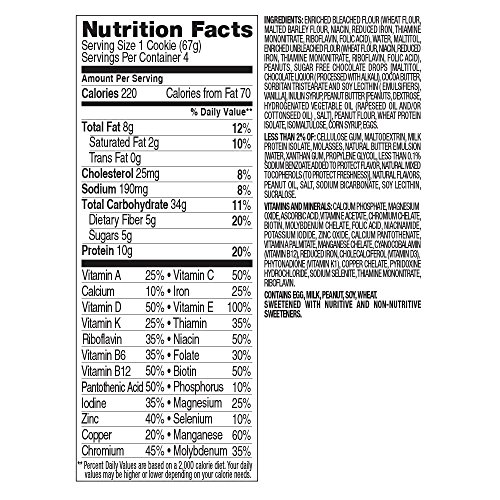 Slim Fast Bake Shop, Meal Replacement Cookie, Chocolatey Peanut Butter, 4 Count