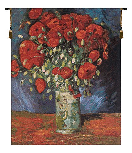 Home Furnishings, Poppy Flowers, Belgian Tapestry Wall, used for sale  Delivered anywhere in USA