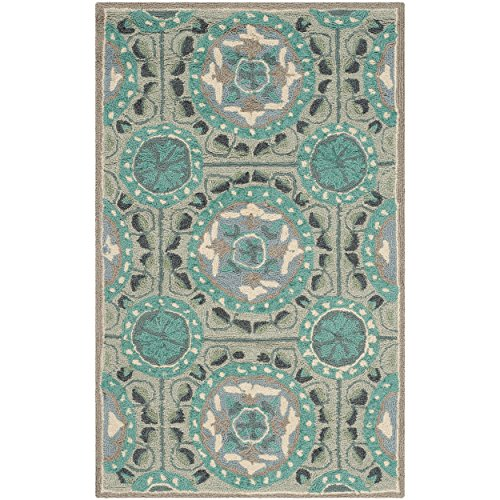 Safavieh Four Seasons Collection FRS485D Hand-Hooked Mint and Aqua Indoor/  Outdoor Area Rug (2'6