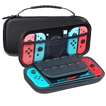 JFUNE Funda para Nintendo Switch, Carcasa de Protección Case con más Espacio de Almacenamiento + Protector de Pantalla de Vidrio Templado para ...