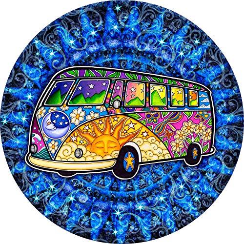 Tire Cover Central Hippie Bus Road Trip Sun Moon Spare Tire Cover for Jeep RV Camper Trailer(Drop Down Size menu 205/70r15 Dan Morris(c)