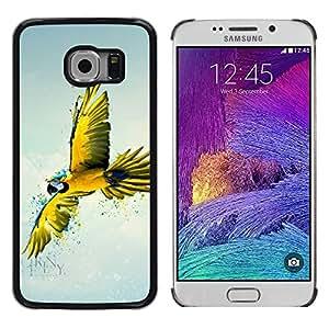 LECELL -- Funda protectora / Cubierta / Piel For Samsung Galaxy S6 EDGE SM-G925 -- Yellow Parrot Art --