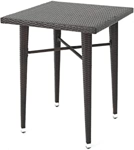 """Christopher Knight Home Dominica Outdoor 32.5"""" Square Wicker Bar Table, Multibrown"""