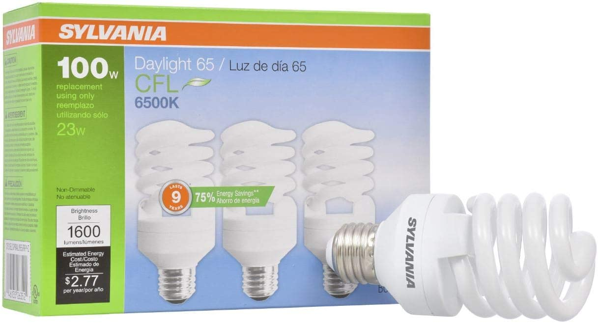 SYLVANIA General Lighting 26352 Sylvania CFL Light Bulb, 6500K, 3
