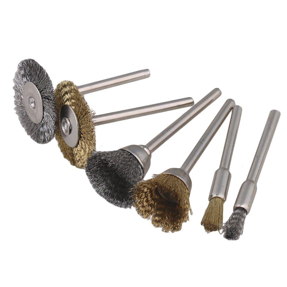 cnbtr 3 mm Schaft Stahl Messing Draht Rad Pen Cup Pinsel-Set ...