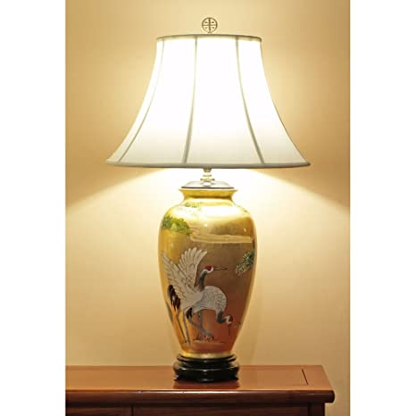 Cranes Crafted Shade Oriental Scenery Lamp Gold With Leaf Hand Table vNnw80m