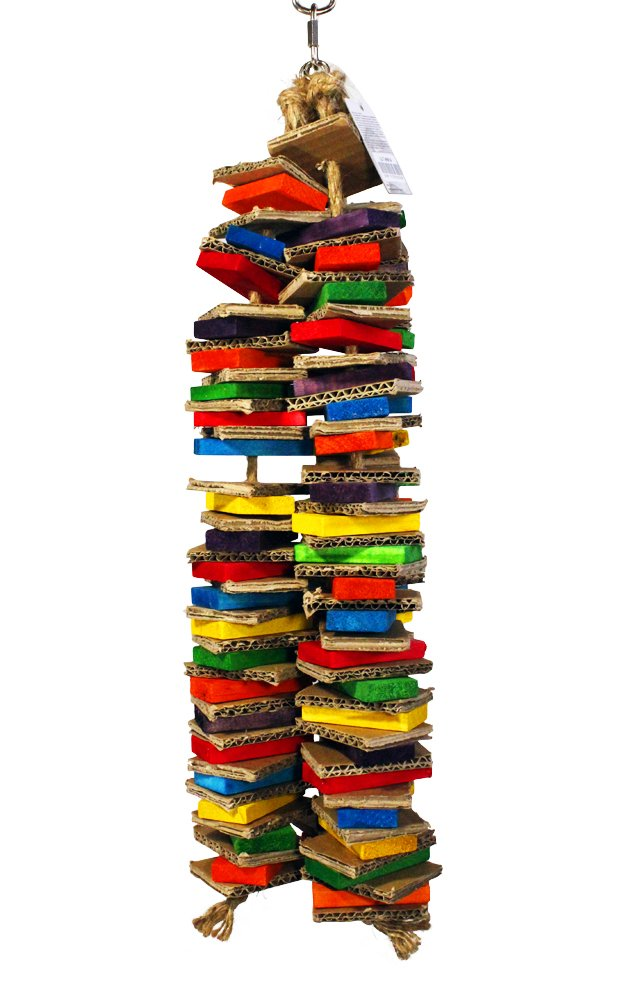 Birds LOVE Chew-Tastic Triple Tower of Shredded Fun Large Bird Toy for African Greys, Amazons, Eclectus, Cockatoos, Macaws and Similar Sized Birds by Birds LOVE