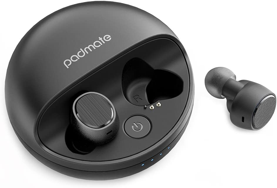 Noise Cancelling Wireless Earbuds 12H Playtime, Padmate 3D Stereo Sound Wireless Bluetooth Headphones, Built in Mic with Portable Charging Case for Workout