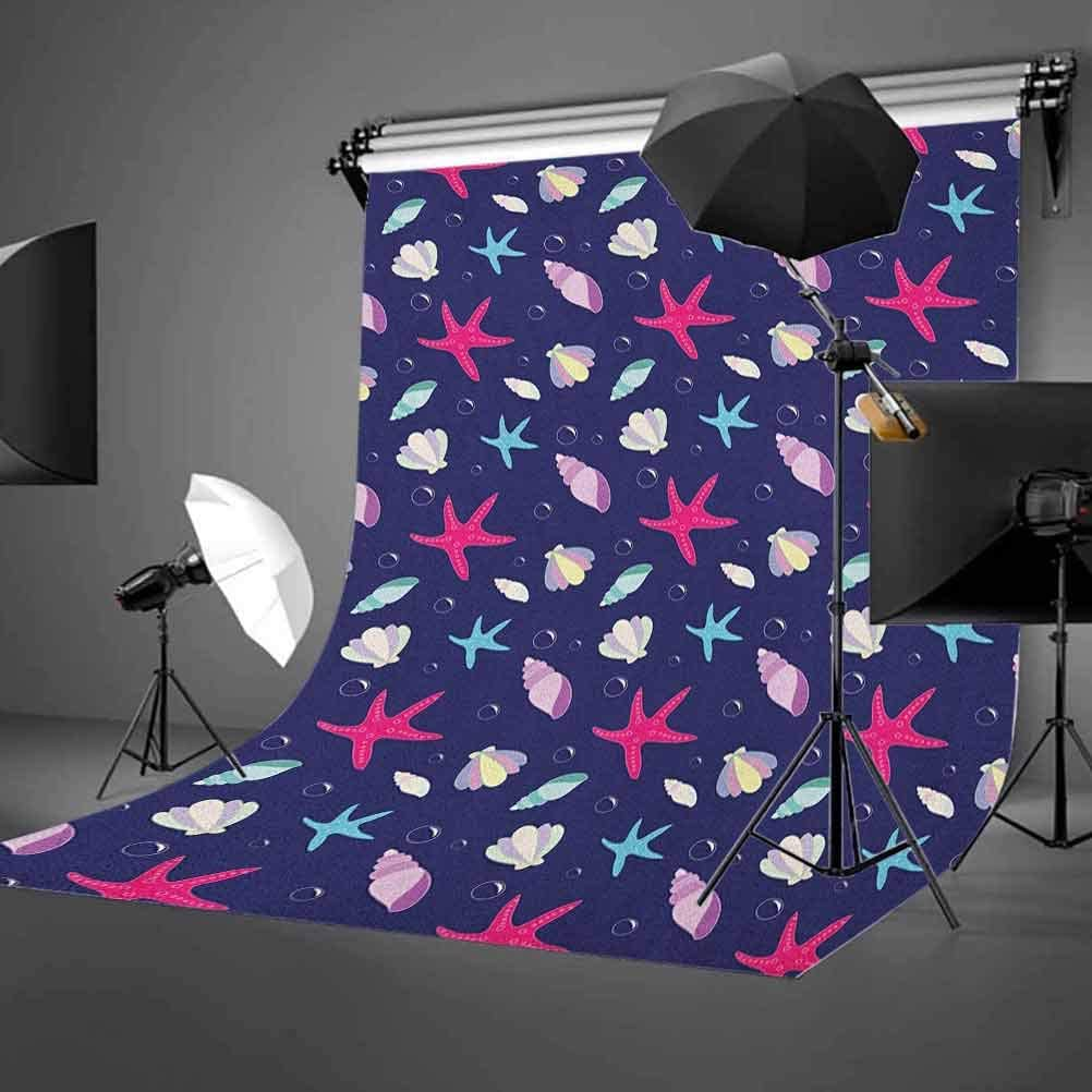 7x10 FT Navy and B Vinyl Photography Backdrop,Nautical Marine Pattern with Shells Starfishes and Bubbles Aquatic Wildlife Background for Photo Backdrop Baby Newborn Photo Studio Props