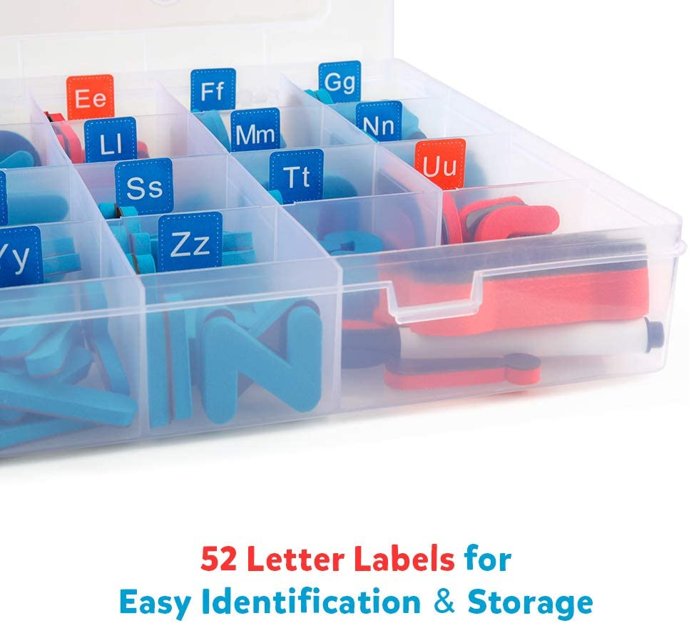 Coogam Magnetic Letters 208 Pcs with Magnetic Board and Storage Box - Uppercase Lowercase Foam Alphabet ABC Magnets for Fridge Refrigerator - Educational Toy Set for Classroom Kids Learning Spelling: Toys & Games