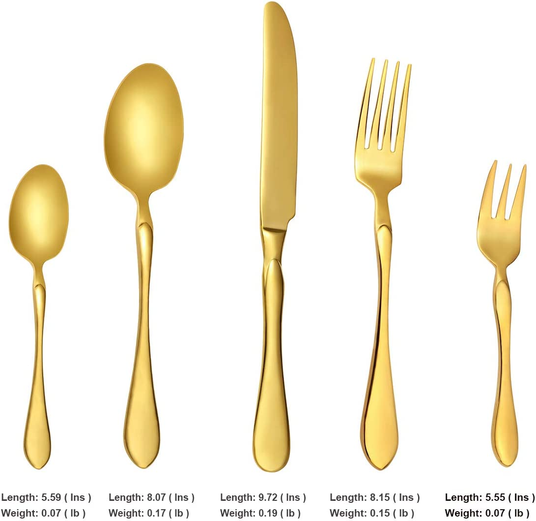 Heavy Duty Stainless Steel Golden Floral Print Kitchen Cutlery Set Spoon Fork 30