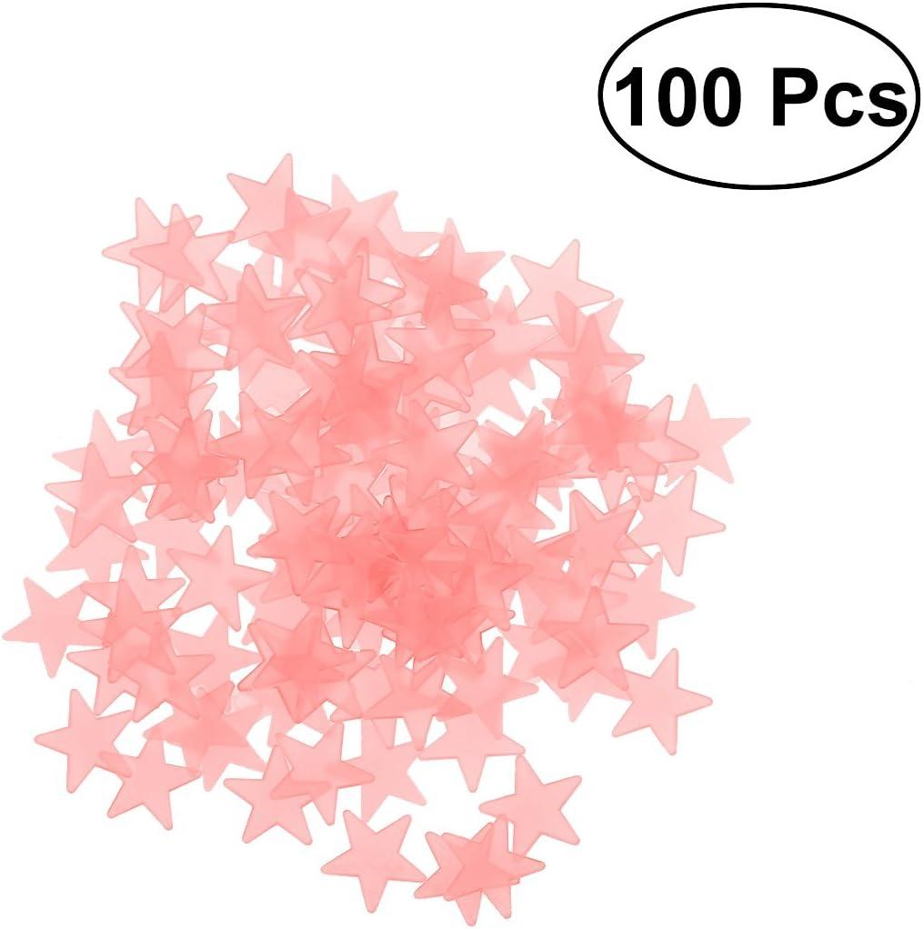 MerryDate Lumineuses Stickers /Étoiles,50 Pi/èces Autocollants Lumineux Etoiles phosphorescentes Stickers Muraux fluorescents Lumineux Autocollant Plafond D/écoration de Chambre denfant b/éb/é. Rose