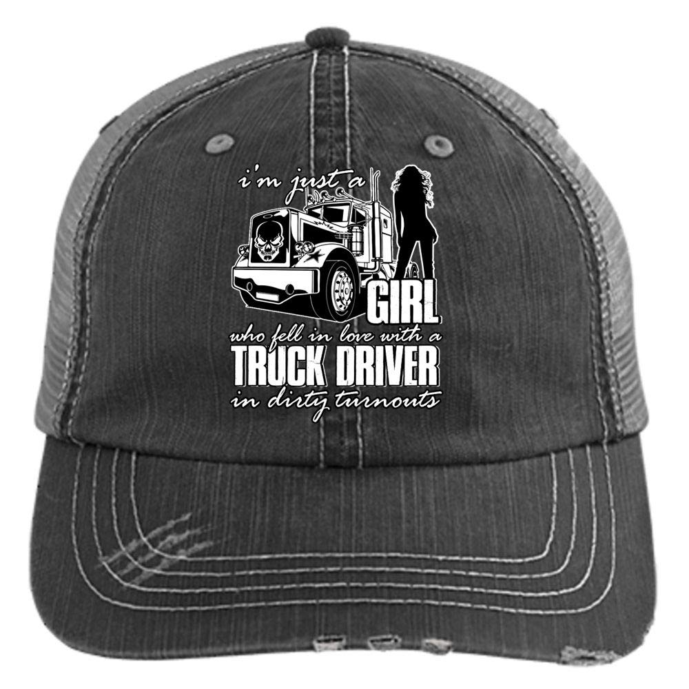 ba3bbc1e Fell in Love with A Truck Driver Hat, I'm Just A Girl Trucker Cap (Trucker  Cap - Black) at Amazon Men's Clothing store: