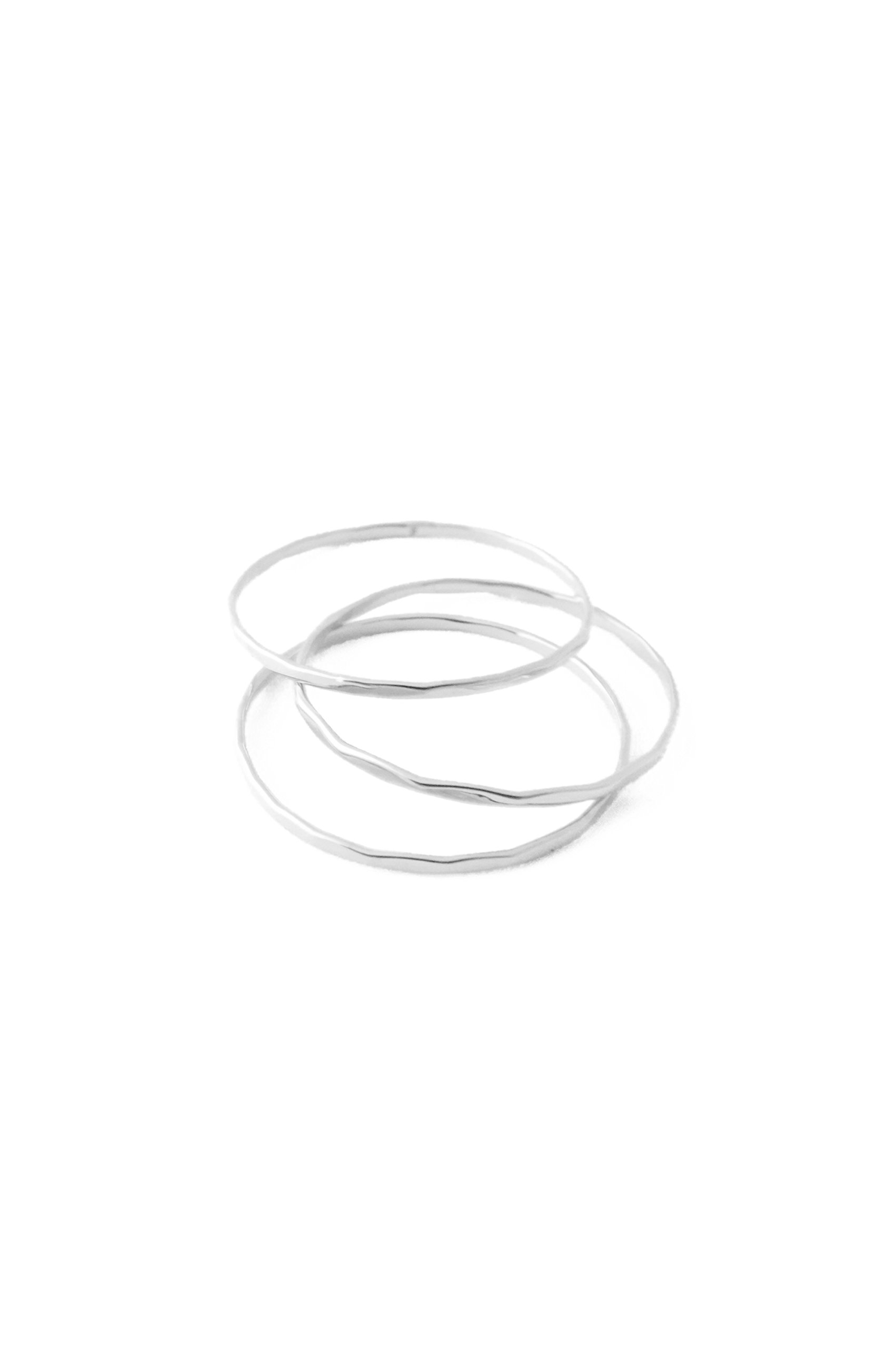 HONEYCAT Super Skinny Hammered Stacking Rings Trio Set in Gold, Rose Gold Silver   Minimalist, Delicate Jewelry (Silver, 7)