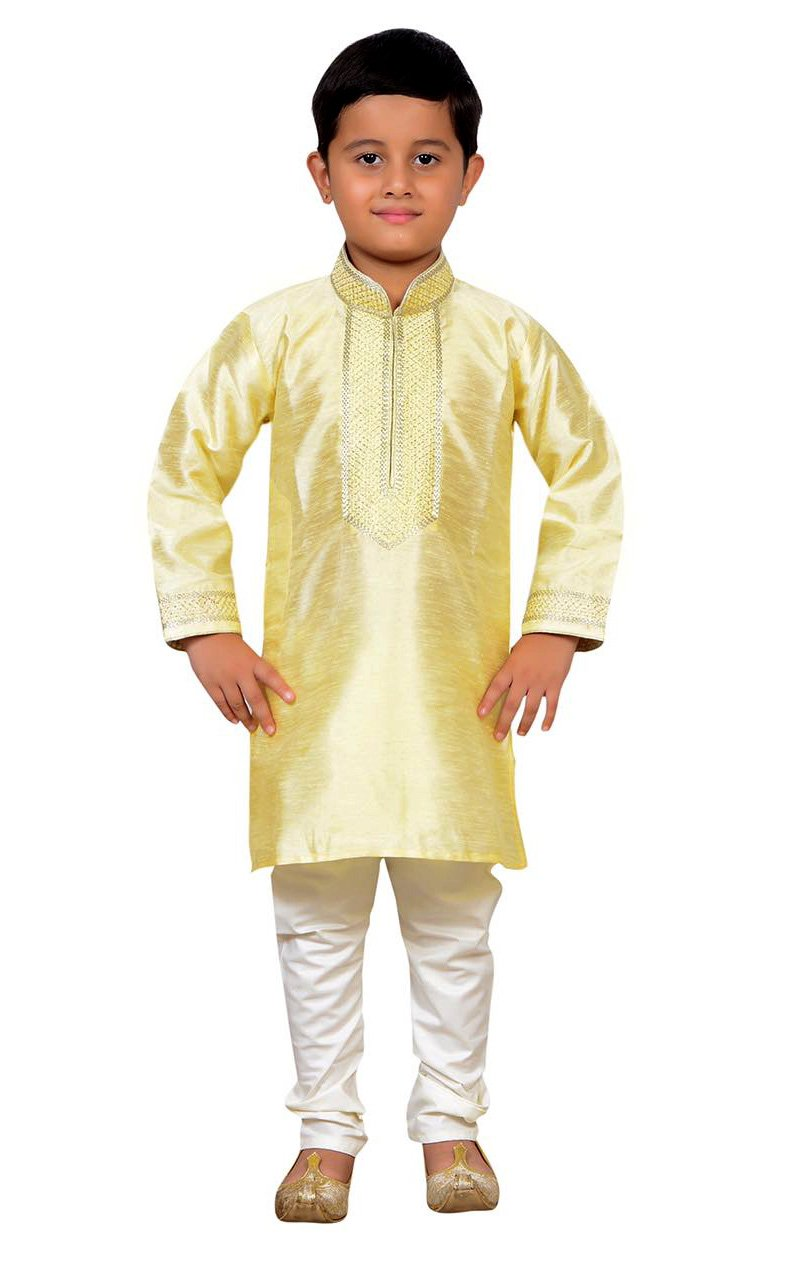 Boys Indian Sherwani Kurta with Churidar pajama in fine Art Silk for Bollywood theme party Costume 893 (5 (5 yrs), Cream)