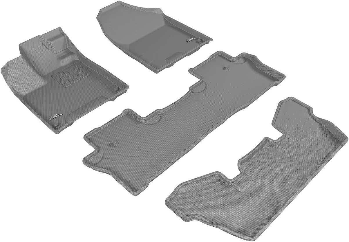 3D MAXpider Front Row Custom Fit All-Weather for Select Honda Fit//HR-V Models Gray Kagu Rubber