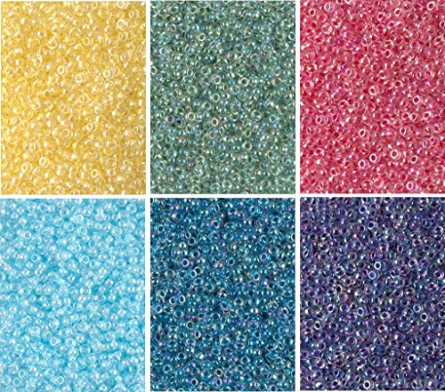 Color Lined Crystal AB Colors - 6 Color Mix Miyuki Round Rocaille Seed Beads Size 11/0, Each in 2