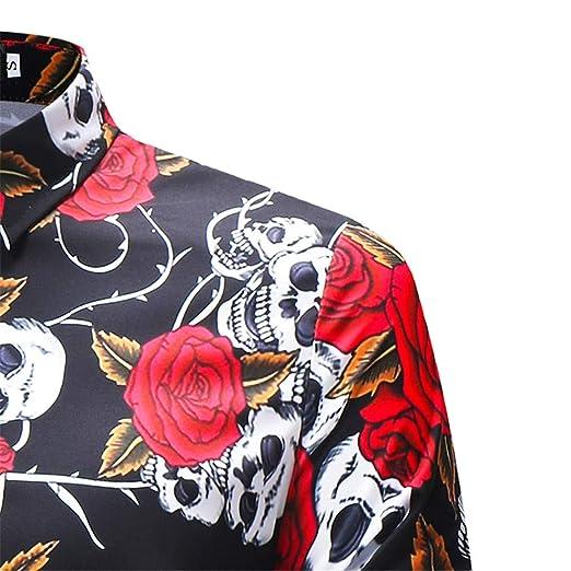 AiRobin Camisa básica de Manga Larga con Estampado de Calaveras para Hombres Silm, Negro, L: Amazon.es: Ropa y accesorios