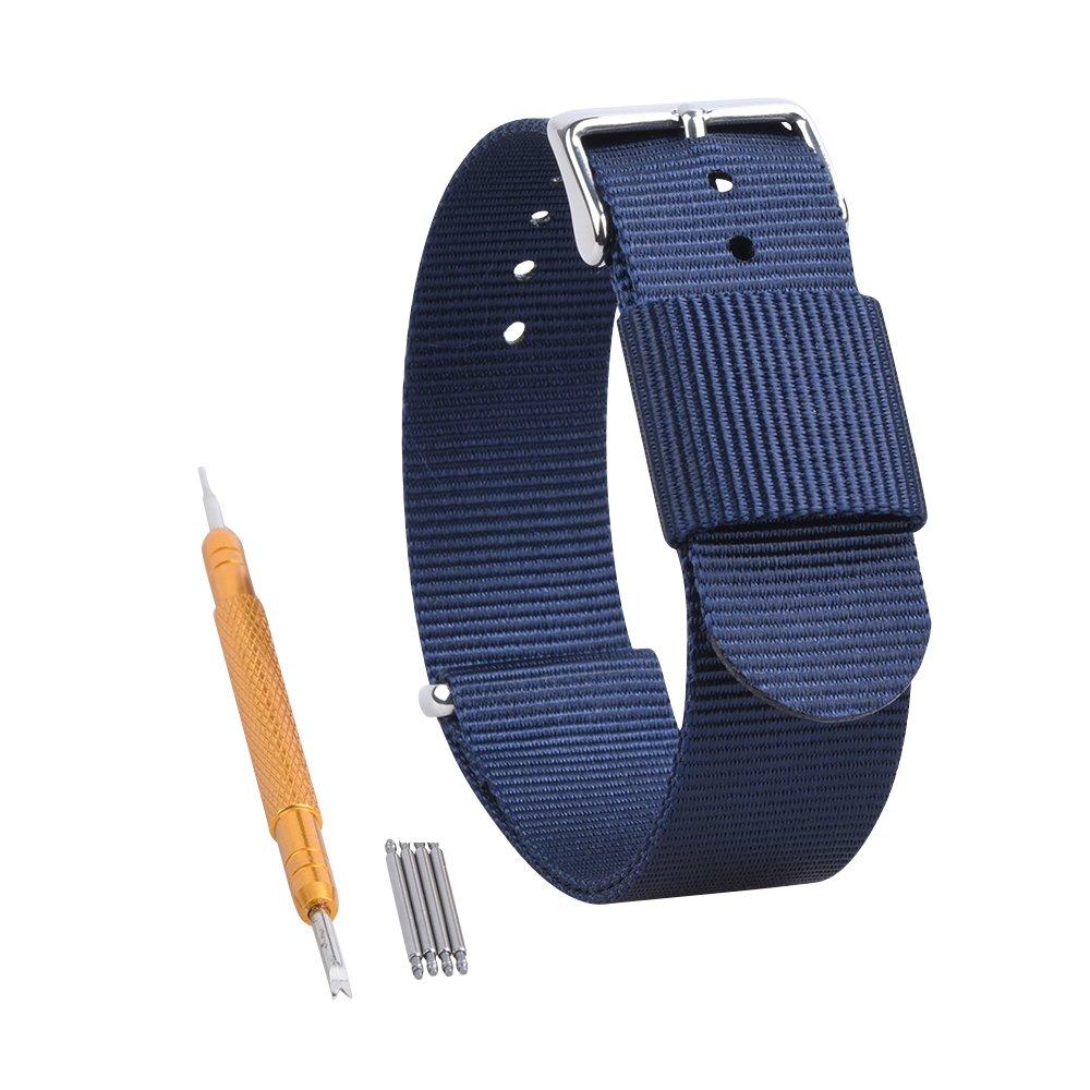 RANDON 腕時計用替えバンド NATO ベルト バリスティックナイロン ステンレス鋼バックル付き 24mm|ブルー ブルー 24mm B01NBW26GB