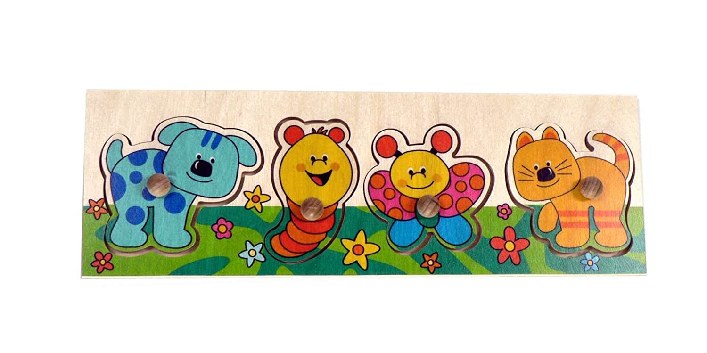 Puzzle mit Griff | Tiere 4 Teile aus Holz, Steckpuzzle mit Griffen, Lernspiel, Holzspielzeug, Griffpuzzle - Motorikspiel - Motorik - Puzzle - fü r Kinder