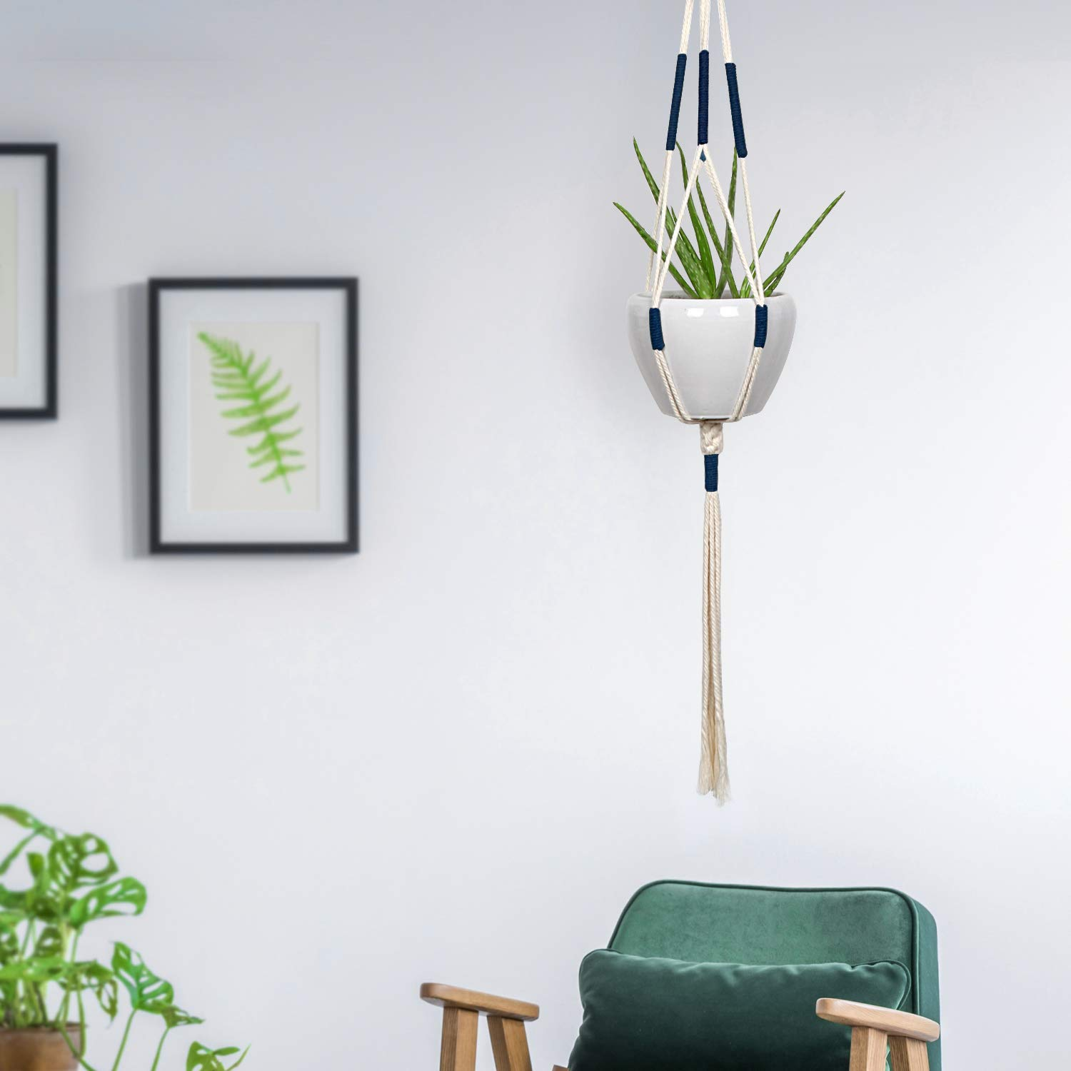 Macrame Plant Hangers - Hanging Planter Indoor Outdoor - Cotton Plant Basket Holder with Blue in Details 41 Inch, Bohemian Decor