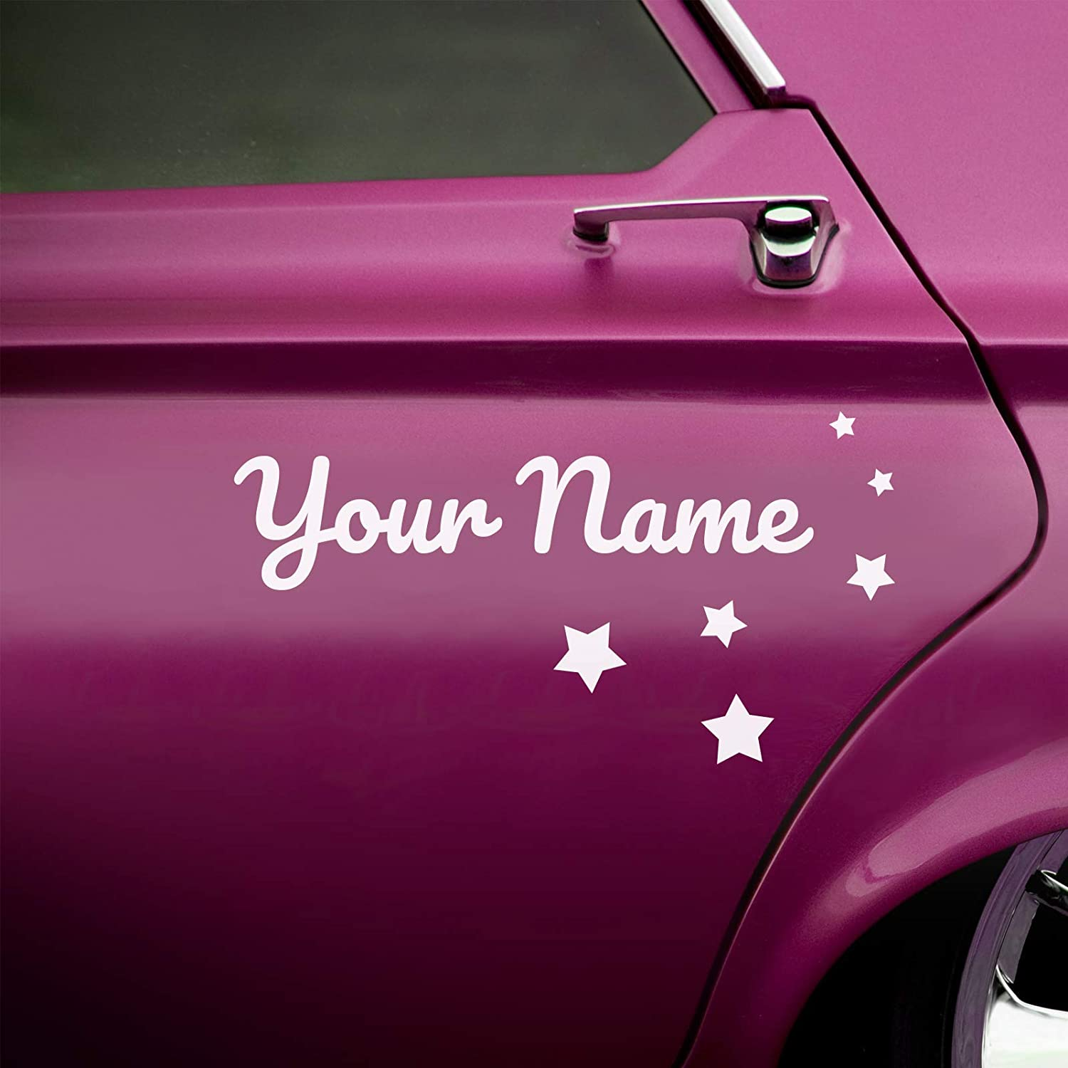 2 x custom car name stickers with shapes curly script style amazon co uk handmade