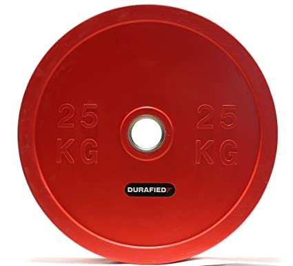 Amazon.com : 25kg 55lb olympic bumper plate economy red pair