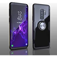 Samsung Galaxy S9 Plus Case, Transparent Crystal Clear Cover with Slim Silicone Rubber Bumper Frame and 360° Rotating Magnetic Finger Ring & Kickstand Compatible with Samsung Galaxy S9 Plus