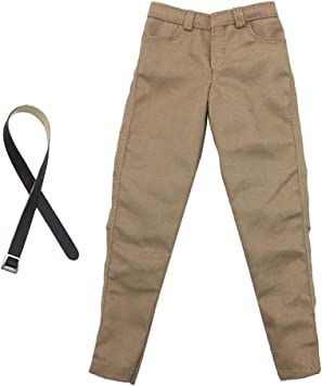 1//6th Male Khaki Casual Trousers With Belt for 12/'/'  Action Figures Hot Toys