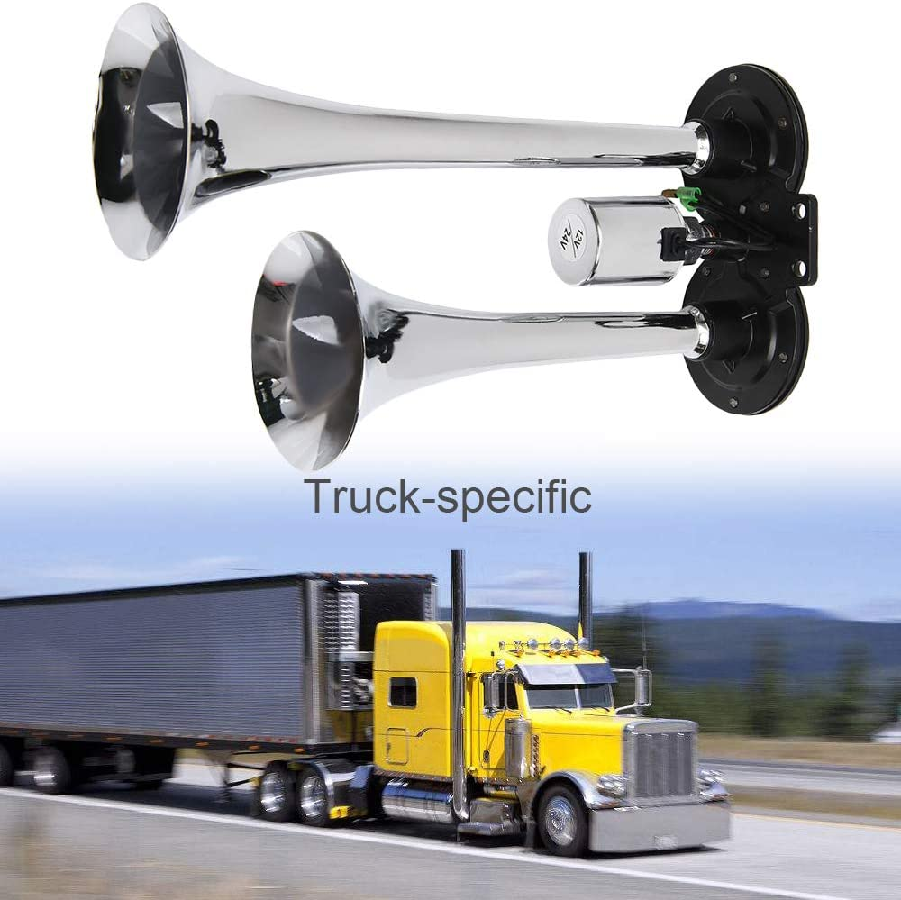 Dual Trumpets Super Loud Air Horn 12V 150dB Car Truck Train Boat Auto Motorcycle Vehicles Replacement Part Auto Accessories Hardware WElinks Loud Air Horn