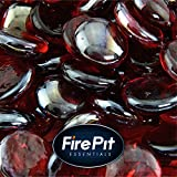 1/2'' Fire Glass Beads for Indoor or Outdoor Fire Pits or Fireplace (Ruby Semi Reflective)