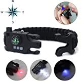 Paracord Bracelet Survival Rechargeable Survival Wirst with LED Flashlight,Compass,Emergency Loud Whistle,Laser Infrared Bracelet for Hiking, Camping, Fishing,Climbing