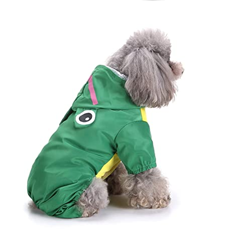 smalllee/_lucky/_store Cute Duck Raincoat for Small Dogs with Hoood Leash D-ring Puppy Botton Down Rain Jacket Full Boby 4 leg Jumpsuit Lightweight Waterproof Clothes,Yellow XL