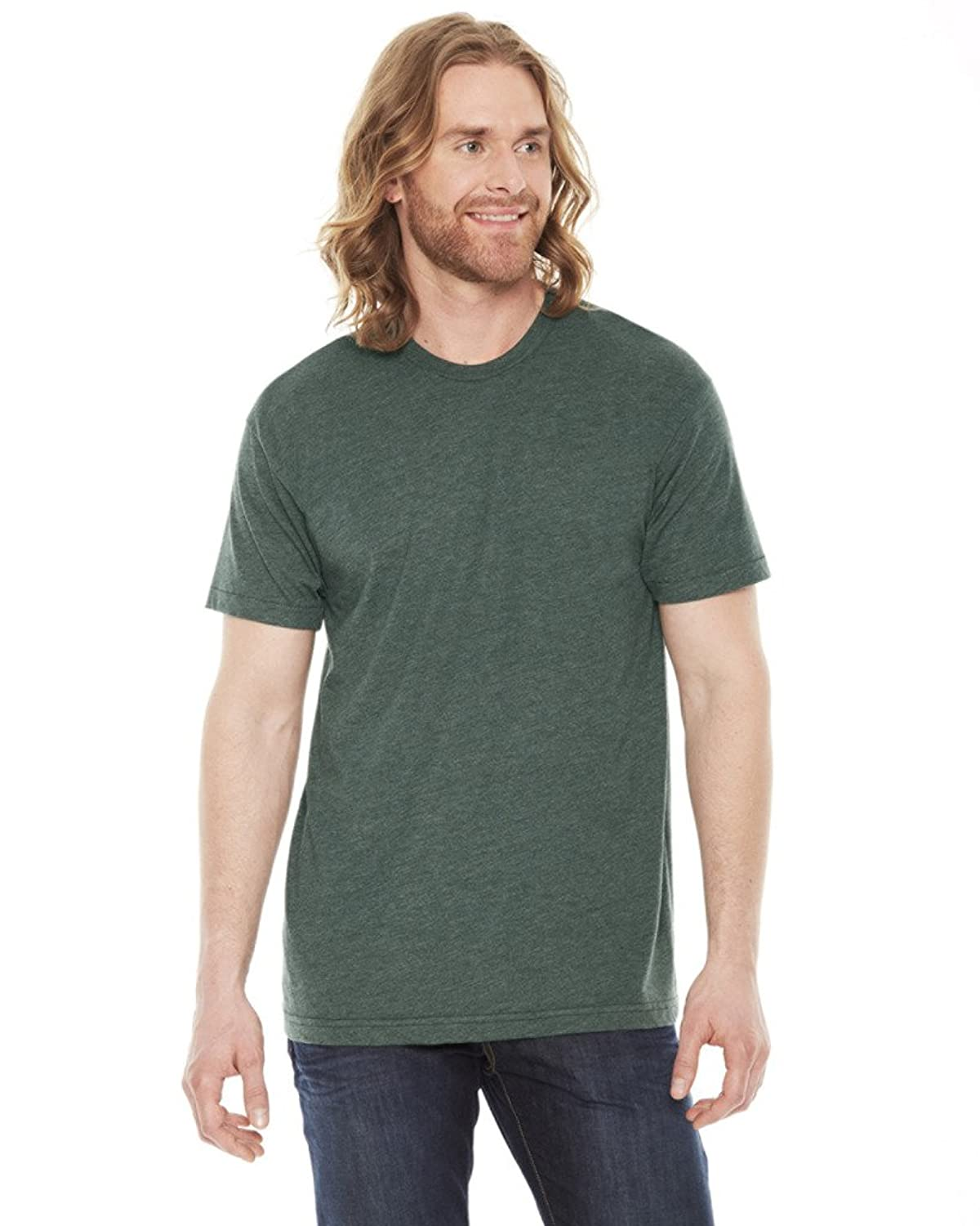 American Apparel Unisex Poly/cotton Short Sleeve Crew Neck - Heather Forest - L