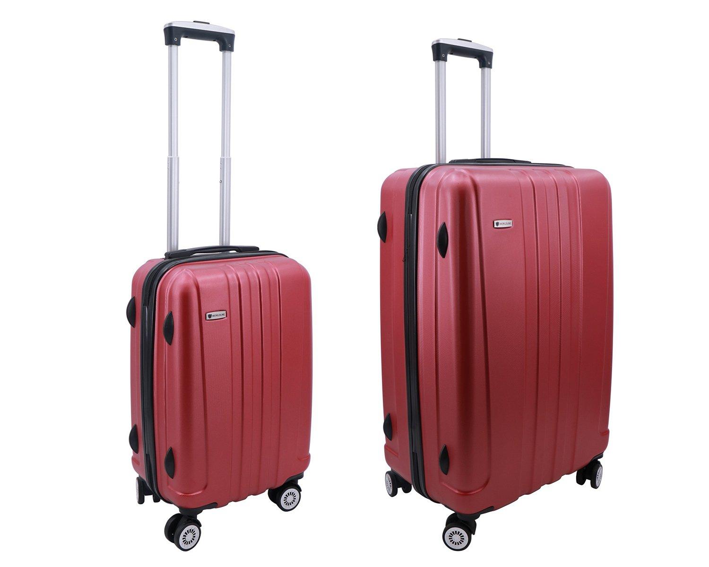 Lot de 2 valise Worldline, valise cabine et valise 75 cm à 4 roulettes en ABS & polycarbonate (Bleu) valise cabine et valise 75 cm à 4 roulettes en ABS & polycarbonate (Bleu)
