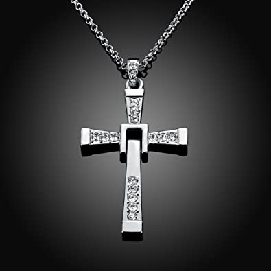 Amazon naivo cross necklace 18k white gold plated made with naivo cross necklace 18k white gold plated made with austrian crystal torettos cross chain necklace fast aloadofball Image collections