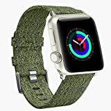 For 38mm Apple Watch Band Women, Woven Canvas Nylon iWatch Bands Replacement Wristband Strap for 38mm New Apple Watch Series 3 Series 2 / Series 1 (Woven/Army Green, 38mm)