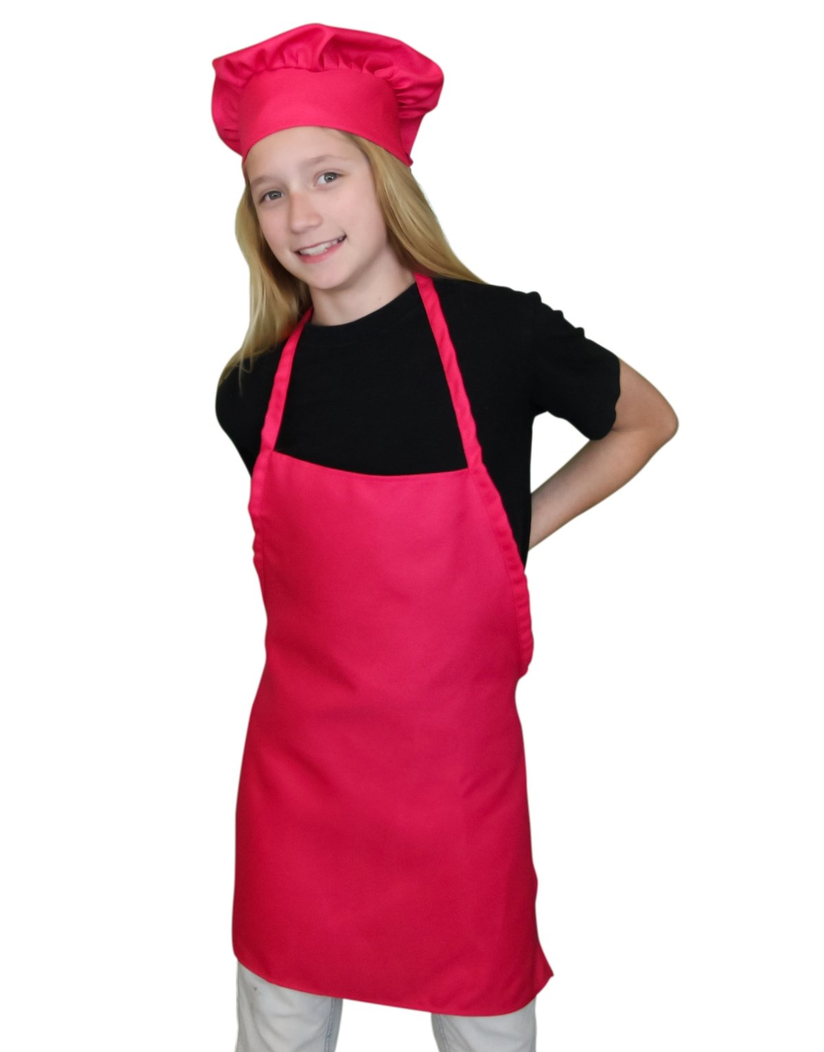 Kids Apron and Chef Hat Set. Adjustable Hat and Apron. Fits Childs Size Medium 6-12 (Pink) -Free eBook
