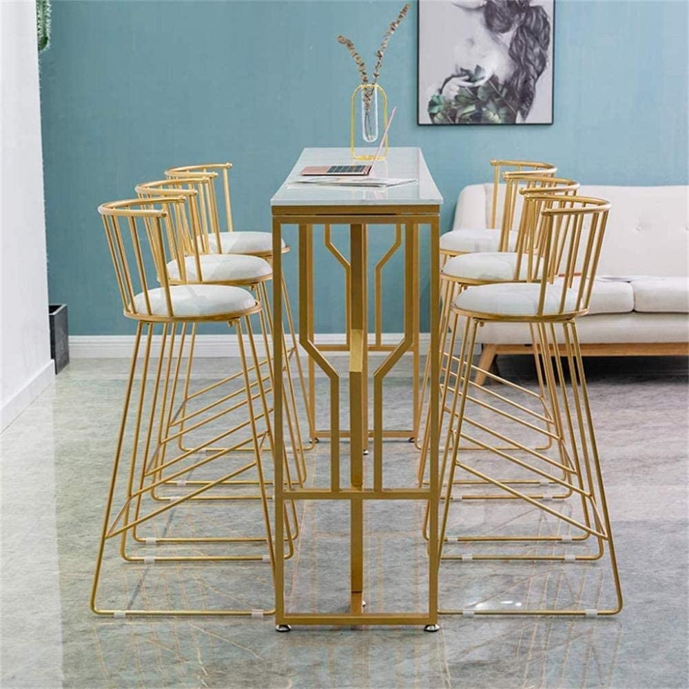 Barstools Faux Leather Upholstered | Contemporary Style Metal Dining Chair with Back - Gold Iron Frame-Black White