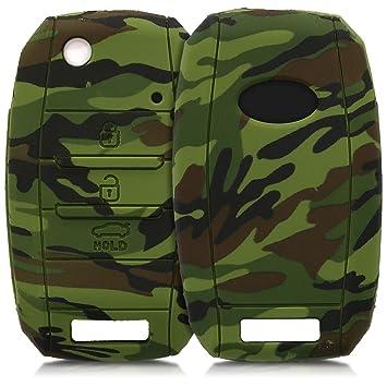 kwmobile Funda para Llave de 3-4 Botones para Coche Kia - Carcasa Protectora Suave de Silicona - Case de Mando de Auto con diseño Camouflage
