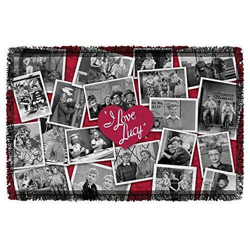 I Love Lucy Time After Time Woven Tapestry Throw White 36x58