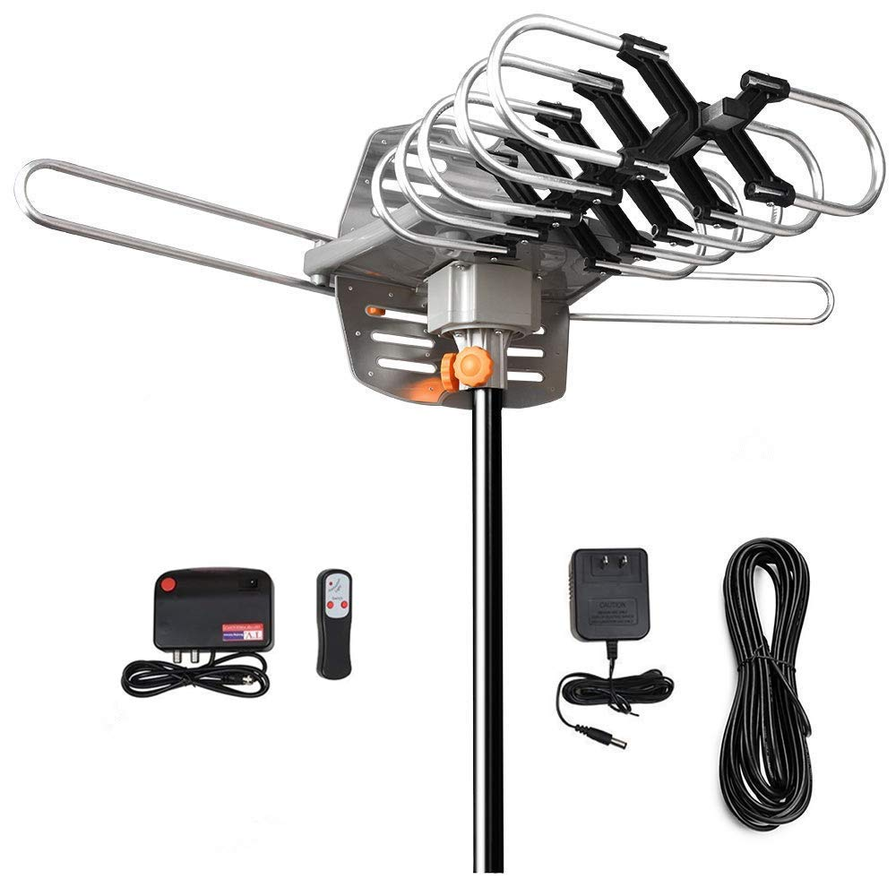 HDTV Antenna - Amplified Digital Outdoor TV Antenna 150 Mile Range 360° Rotation Support 2 TVs for UHF/VHF Channels - for Full HD 1080P 4K[Without Mounting Pole]