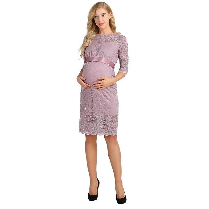 iEFiEL Vestido de Maternidad y de Lactancia Verano Vestido Premamá Floral Manga Corta para Mujeres Embarazadas