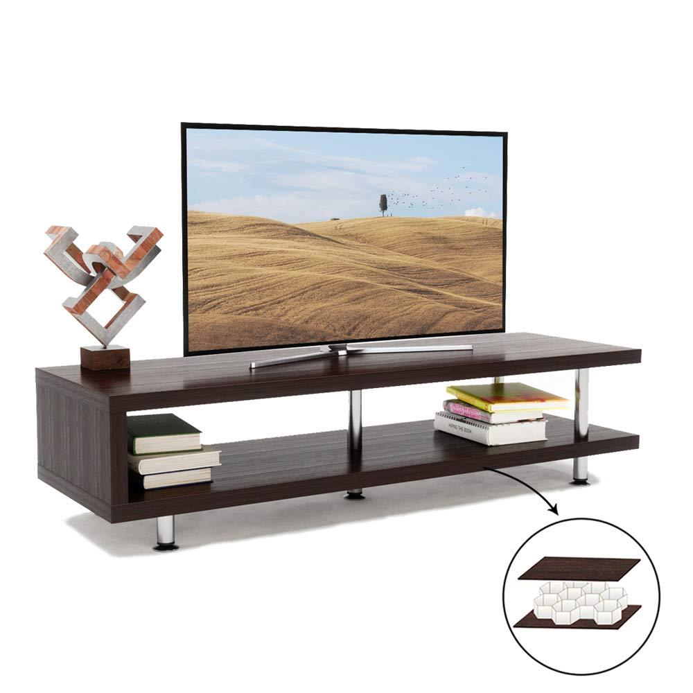 Bestier Oak/Brown TV Stand with 2-Shelf Storage, 47inch Media Furniture Wood Storage Console with Steel Frame, Affordable Hollow Core Entertainment Center/Coffee Table/Sofa Table for Home Living Room by Bestier
