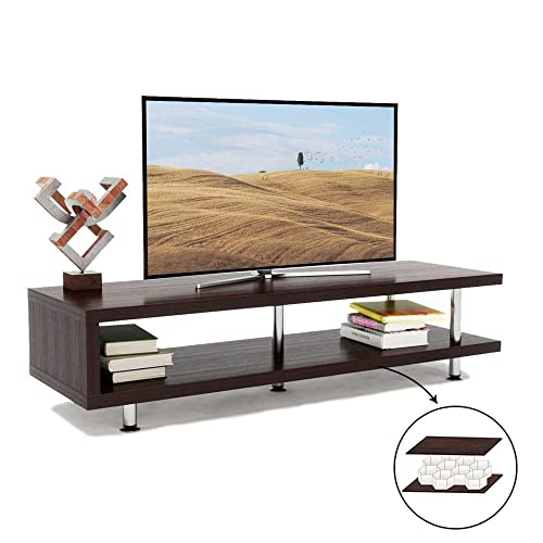 Bestier Short TV Stand with 2-Shelf Storage, 47inch Media Furniture Wood Storage Console with Steel Frame, Hollow Core Entertainment Center Coffee Table Sofa Table Gaming Stand for Home Office