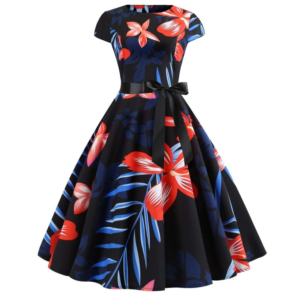 FUZHUANGHM Summer Floral Print Women Vintage Dress Round Neck Short Sleeves Retro Dress Belts Party Robe Dress Femme